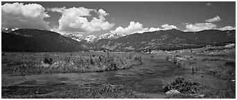 Mountain scenery with green meadows and stream. Rocky Mountain National Park (Panoramic black and white)