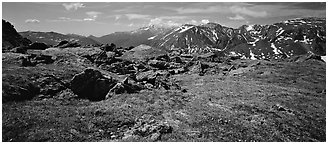 Alpine tundra scenery. Rocky Mountain National Park (Panoramic black and white)