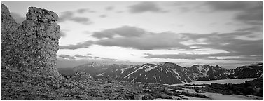 Rock near Toll Memorial at sunset. Rocky Mountain National Park (Panoramic black and white)