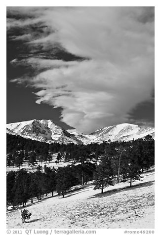 Mummy range and cloud in winter. Rocky Mountain National Park (black and white)