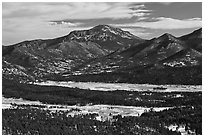 Moraine Park from above, Gianttrack Mountain, late winter. Rocky Mountain National Park ( black and white)