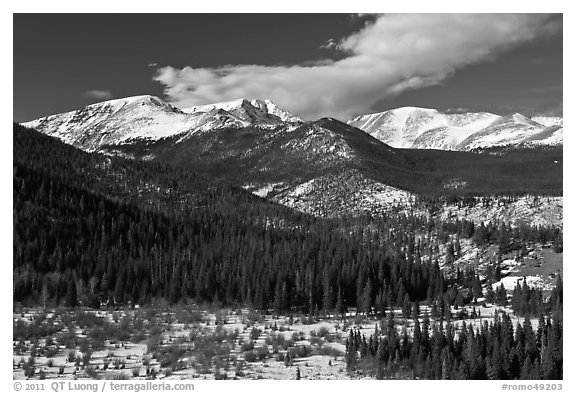 Late winter rockies landscape. Rocky Mountain National Park (black and white)