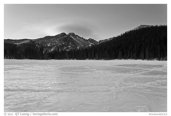 Frozen Bear Lake at sunrise. Rocky Mountain National Park (black and white)
