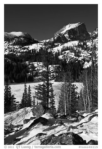 Bear Lake, winter morning. Rocky Mountain National Park (black and white)