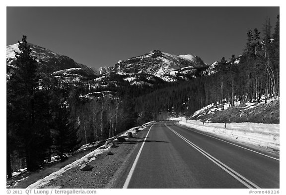 Bear Lake Road in winter. Rocky Mountain National Park (black and white)