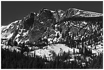 Hallet Peak in winter. Rocky Mountain National Park ( black and white)