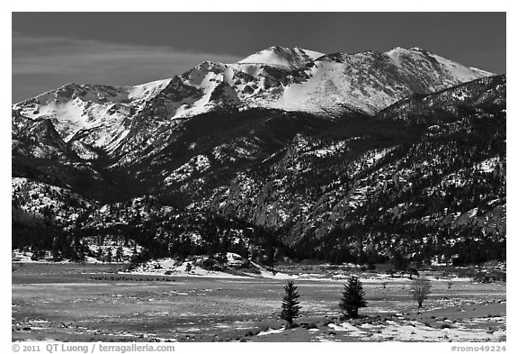Thawing meadow and snowy peaks, late winter. Rocky Mountain National Park (black and white)