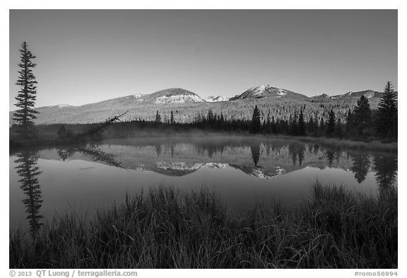 Beaver pond and Never Summer Mountains. Rocky Mountain National Park (black and white)