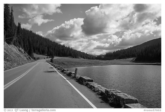 Trail Ridge Road and Poudre Lake. Rocky Mountain National Park (black and white)