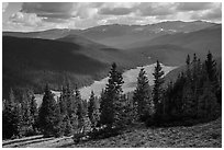 Cache la Poudre River Valley. Rocky Mountain National Park ( black and white)