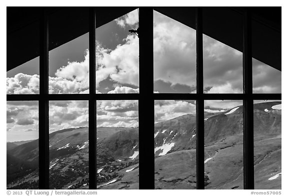 View from inside Alpine Visitor Center. Rocky Mountain National Park (black and white)