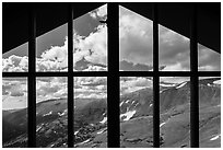 View from inside Alpine Visitor Center. Rocky Mountain National Park, Colorado, USA. (black and white)