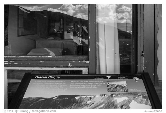 Interpretive sign and Alpine Visitor Center window reflexion. Rocky Mountain National Park (black and white)