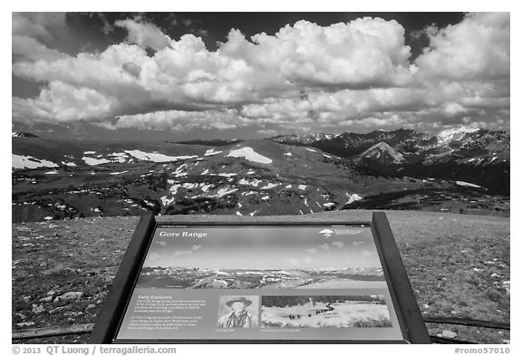 Interpretive sign, Gore Range. Rocky Mountain National Park (black and white)