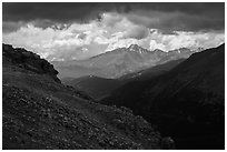 Longs Peak range under dark skies. Rocky Mountain National Park, Colorado, USA. (black and white)