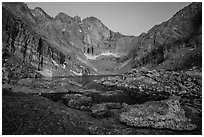 Longs Peak above Chasm Lake at twilight. Rocky Mountain National Park, Colorado, USA. (black and white)