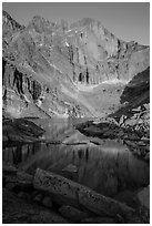 Longs Peak and Chasm Lake at sunrise. Rocky Mountain National Park ( black and white)