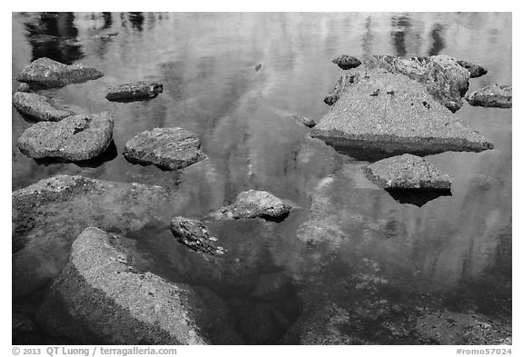 Longs Peak reflections in Chasm Lake. Rocky Mountain National Park (black and white)