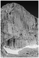 Diamond Face, Longs Peak. Rocky Mountain National Park, Colorado, USA. (black and white)
