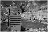 Open air toilet. Rocky Mountain National Park, Colorado, USA. (black and white)