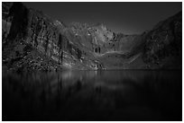 Chasm Lake at night. Rocky Mountain National Park ( black and white)