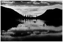 Sunrise on a pond in Horseshoe Park. Rocky Mountain National Park, Colorado, USA. (black and white)