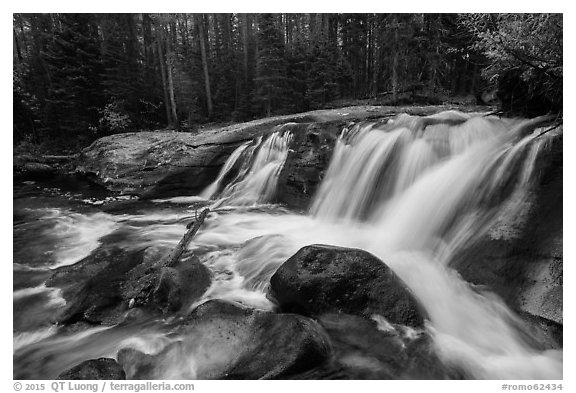 Lower Copeland Falls, Wild Basin. Rocky Mountain National Park (black and white)