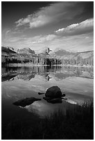 Continental Divide mountains reflected in Sprague Lake. Rocky Mountain National Park ( black and white)