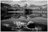 Continental Divide and Sprague Lake in autumn. Rocky Mountain National Park ( black and white)