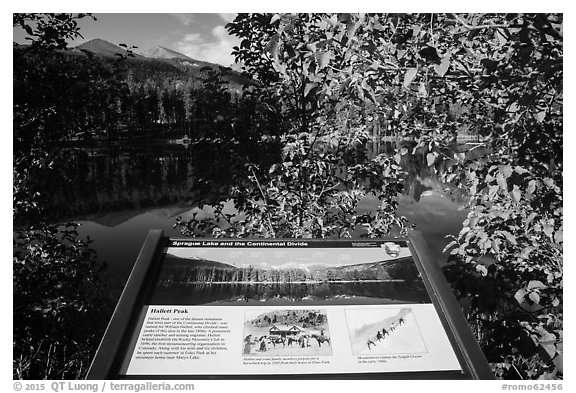 Sprague Lake and Continental Divide interpretive sign. Rocky Mountain National Park (black and white)