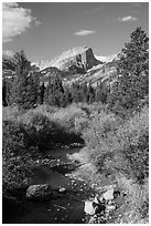 Creek and Hallet Peak in autumn. Rocky Mountain National Park ( black and white)