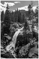 Alberta Falls and mountains. Rocky Mountain National Park ( black and white)