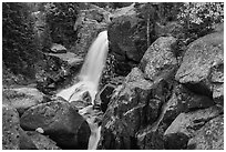 Alberta Falls and cascade in autumn. Rocky Mountain National Park ( black and white)