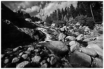 Stream cascading over Alluvial Fan and boulders. Rocky Mountain National Park ( black and white)
