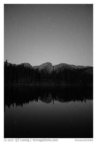 Starry sky above Sprague Lake. Rocky Mountain National Park (black and white)
