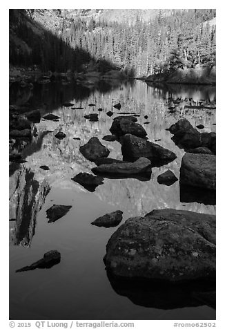 Boulders and reflections in Dream Lake. Rocky Mountain National Park (black and white)