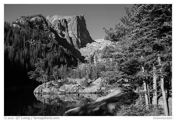 Hallet Peak rising above Dream Lake. Rocky Mountain National Park (black and white)