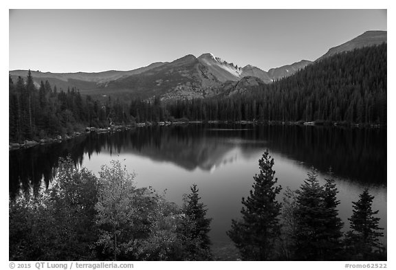 Bear Lake and Longs Peak in autumn. Rocky Mountain National Park (black and white)