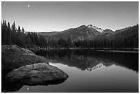 Bear Lake, Longs Peak, boulder and moon. Rocky Mountain National Park ( black and white)
