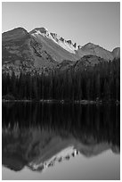 Longs Peak and reflection in Bear Lake at sunset. Rocky Mountain National Park ( black and white)
