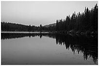 Bear Lake at dusk. Rocky Mountain National Park ( black and white)