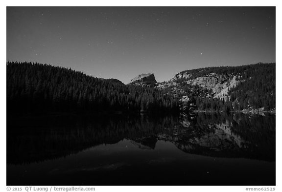 Hallet Peak reflected in Bear Lake at night. Rocky Mountain National Park (black and white)