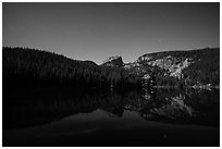Hallet Peak reflected in Bear Lake at night. Rocky Mountain National Park ( black and white)