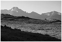 Continental Divide and alpine tundra. Rocky Mountain National Park ( black and white)