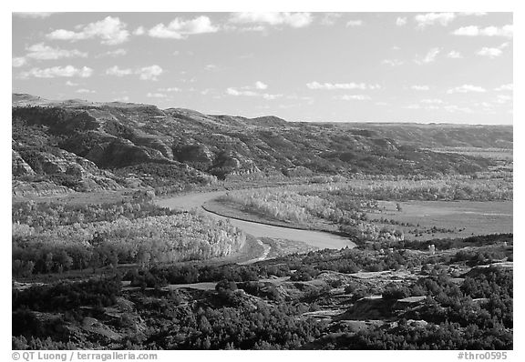 Little Missouri river at Oxbow overlook. Theodore Roosevelt National Park (black and white)