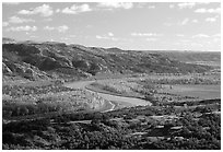 Little Missouri river at Oxbow overlook. Theodore Roosevelt National Park, North Dakota, USA. (black and white)