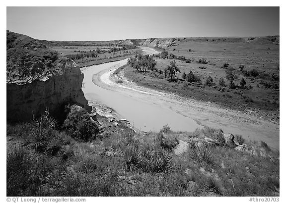 Bend of the Little Missouri River, and Wind Canyon. Theodore Roosevelt National Park (black and white)