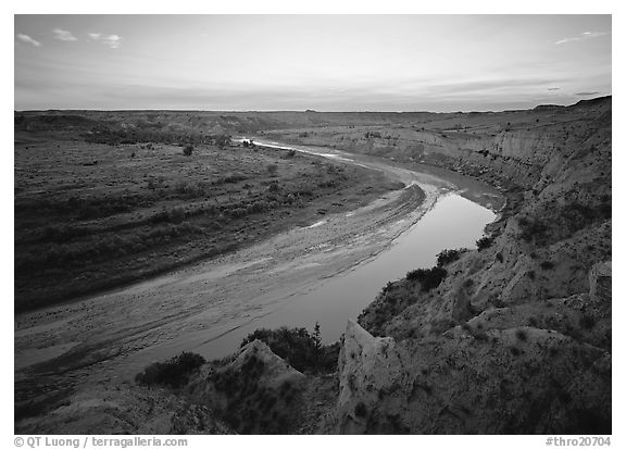 Little Missouri River bend at sunset. Theodore Roosevelt  National Park (black and white)