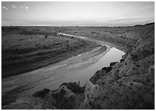 Bend of the Little Missouri River, dusk. Theodore Roosevelt National Park ( black and white)