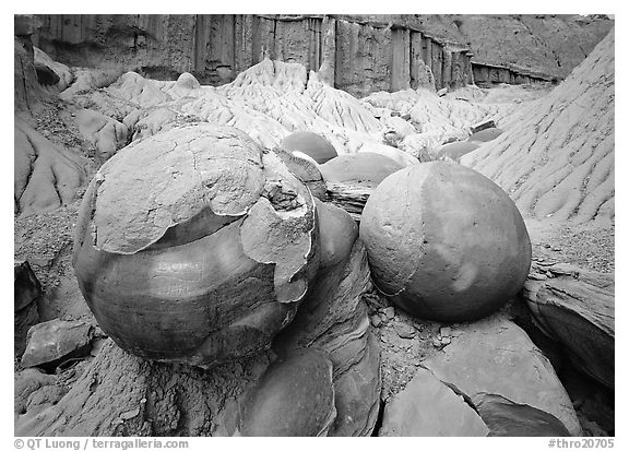 Large cannon ball concretions and badlands. Theodore Roosevelt National Park (black and white)